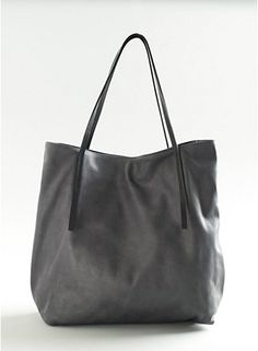love the skinny straps on this grey tote