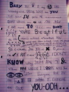 This would be a great way to do some lettering in a journal! What Makes You Beautiful - One Direction #lyrics