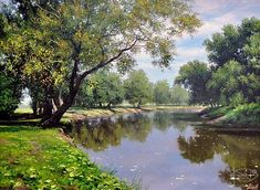Russian Paintings Gallery - Artists - Adamow Alexis - Painting - 'August' - paintings and artworks by Russian artists Selling Paintings, Buy Paintings, Russian Painting, Russian Art, Painting Gallery, Art Gallery, Landscape Art, Landscape Paintings, Watercolor Trees