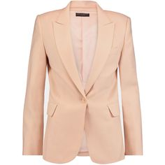 Equipment Anais wool-blend twill blazer ($225) ❤ liked on Polyvore featuring outerwear, jackets, blazers, peach, blazer jacket, tailored blazer, twill jacket, pink blazer jacket and twill blazer