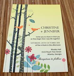 Birch Love Birds Invitation