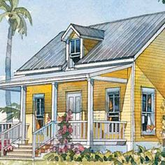 An adorable front porch is just the place to set up a couple of chairs or maybe a hanging swing and take a load off your heels.    484 square feet 1 bedroom and 1 bath    See Plan: Beachside Bungalow
