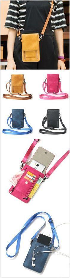 [$ 14.78] Vintage PU Leather Card Holder 5.5inch Phone Bag Shoulder Bag Crossbody Bags