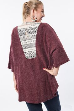 plus size wine kimono cardigan with lace detail #plussizetops #plussizecardigan #plussizefashion