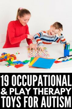 19 therapy toys for kids with autism and sensory processing disorder that help develop gross and fine motor skills, language, and cognitive skills. Activities For Autistic Children, Autism Activities, Speech Therapy Activities, Children With Autism, Sensory Activities, Kids Learning, Autism Resources, Sensory Play, Gross Motor