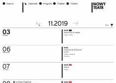 Interactive minimal calendar - Nowy Teatr for web design inspiration added by Awwwards to calendar, schedule, minimal Minimal Web Design, Web Design Tips, Grid Design, Web Design Inspiration, Design Tutorials, App Design, Design Layouts, Mobile Design, Minimal Calendar