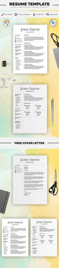 Two Page Resume Template - Resume Builder - CV Template - Free Cover