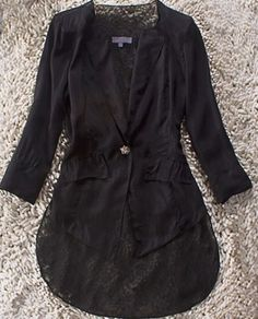 Black Long Sleeve One Button Swallowtail Dipped Hem Coat pictures
