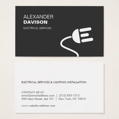 Modern electrician extension cord logo black business card perfect modern electrician extension cord logo black business card perfect for con customizable construction home improvement maintenance business cards reheart Choice Image