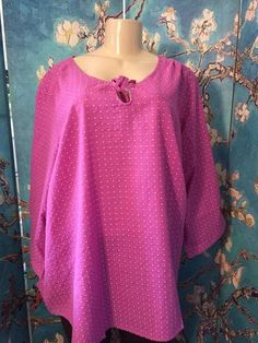 WOMAN WITHIN PLUS 1X PURPLE DIAMOND TIE ROUND NECK 3/4 ROLL SLEEVE TUNIC TOP #WomanWithin #Tunic #Casual