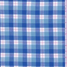 Blue Plaid Cotton Shirting - 27256 - Fabric By The Yard At Discount Prices - $3.95