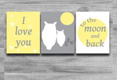 Nursery Art Yellow Gray Set of 3 I Love You To the Moon and Back Print Owl Baby Shower Gift Decor Silhouette Matches Bedding Nursery Themes, Nursery Wall Art, Owl Nursery, Nursery Ideas, Nursery Decor, Owl Themed Nursery, Baby Owls, Owl Baby Stuff, Yellow Gray Bedroom