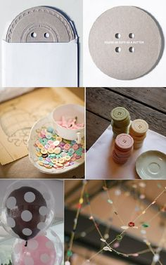 """an actual """"button"""" as the invite- ingenious! love the button garland!!"""