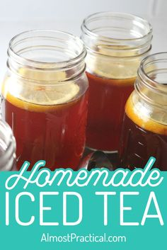 How to make homemade iced tea. This is one of my favorite summer drink recipes. You can make it either sweet or unsweetened. Herbal Iced Tea Recipe, Best Iced Tea Recipe, Homemade Iced Tea, Iced Tea Recipes, Fruit Drinks, Smoothie Drinks, Beverages, Booze Drink, Alcoholic Desserts