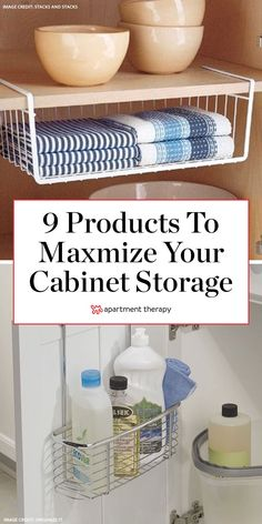When your cabinet storage just isn't cutting it, call on these savvy space-saving products to find square inches you didn't even know existed. Decorating Tips, Decorating Your Home, Interior Decorating, Rv Makeover, Apartment Living, Apartment Therapy, Living Rooms, Storage Cabinets, Home Decor Wall Art