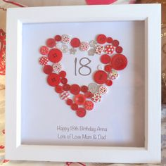 Personalised Heart Happy Birthday Button Print Picture 18 21 30 40 50 60 Gift