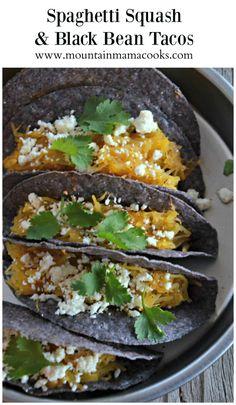 Spaghetti Squash and Black Bean Tacos | http://mountainmamacooks.com