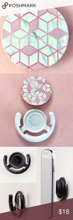 ✨Pop Socket w/ Mount✨ Comes with a mount included! 🎀🎀🎀 Pink cute girly stone geometric pattern design style fashion phone iPhone accessory extra stand holder Accessories