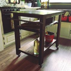 DIY kitchen Island on wheels tinyliving, dark stain