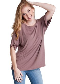 Flying Street Bamboo Fiber Boxy Top TB1038MCH, clothing, clothes, womens clothing, jeans, tops, womens dress