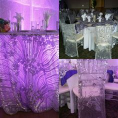 Silver sequine tablecloth for the sweetheart table