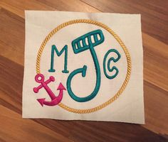 Anchor Rope Monogram Frame Embroidery