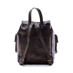 14Men Leather Backpack Gray Vintage Fashion Particular by nooooin