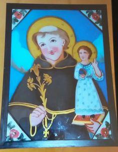 Pittura su Vetro - S. Antonio da Padova Cm 40x30  olio su vetro con decori in oro Per info e costi : Pincisanti@hotmail.com