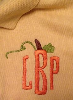 Pumpkin Monogram polo infant sport shirt by EMembroiderycrochet