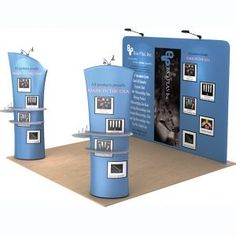 What if we had one of these free-standing columns that you could walk around. Small shelf could have stickies & pen.    Allure Fabric Tension Banner Stands-Arc angle