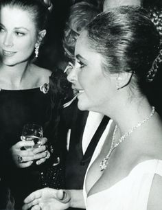 Grace Kelly and Elizabeth Taylor at Grace's 40th birthday party on November 12, 1969.