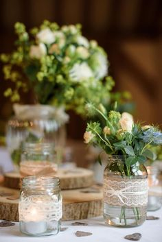 Jar Flowers Lace Hessian Ribbon White Blue Pretty Natural Rustic Woodland Wedding http://riamishaal.com/