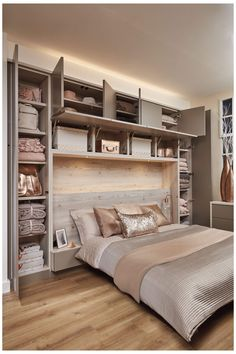 Magnificent Small Master Bedroom Ideas (Coloring, Decorating, and Storage Design Ideas) Narrow Bedroom, Small Bedroom Storage, Small Master Bedroom, Small Bedroom Designs, Small Bedrooms, Bed Storage, Storage Ideas, Storage Design, Organization Ideas