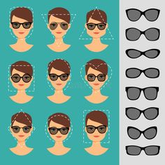 Illustration about Womens Sunglasses Shapes for different face shapes vector illustration. Illustration of lady, character, face - 71296965 Oval Faces, Square Faces, Face Shapes, Heart Shapes, Glasses For Your Face Shape, Glasses For Oblong Face, Eyeglasses For Oval Face, Face Shape Hairstyles, Heart Face