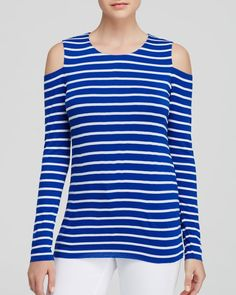 Bailey 44 Top - Cold Shoulder Striped