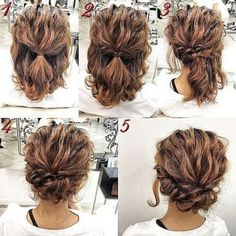 Romantic-Easy-Updo-Hairstyle-Tutorial-for-Short-Hair-Sweet-and-Simple-Prom-Hair-. - Romantic-Easy-Updo-Hairstyle-Tutorial-for-Short-Hair-Sweet-and-Simple-Prom-Hair-Styles Up Dos For Medium Hair, Medium Curly, Medium Long, Updo Hairstyles Tutorials, Messy Hairstyles, Natural Hairstyles, Hairstyle Ideas, Step Hairstyle, Modern Hairstyles