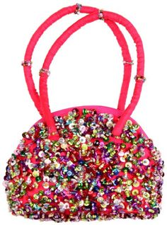 Girls Sequins And Beaded Purse With Hand Strap in Multi-Pink color. Perfect size for holding all little girls items, and available in lots of fun colors