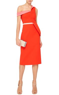 Off The Shoulder Pencil Dress by ANTONIO BERARDI Now Available on Moda Operandi