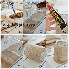 Reusing glass jars.