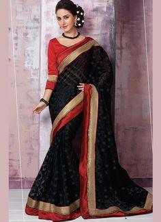 Sorcerous Brasso Black Lace Work Designer Saree