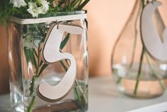 Super easy DIY faux leather wedding table numbers for beach wedding