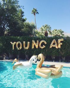 """""""Young AF"""" gold balloons and majorly cool pool floats are a must for the big 3-0. @pursuitofshoes @stylecaster"""