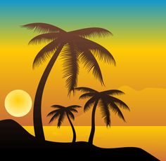 Warm tropical beach in the sunset background with palm tree silhouettes - Vector Ai, EPS… Palm Tree Silhouette, Sunset Silhouette, Silhouette Painting, Palm Tree Sunset, Palm Trees, Ocean Sunset, Types Of Photography, Landscape Photography, Sunset Background