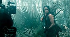 A behind the scenes shot of a cameraman filming Alice Braga with her Blaser R93 LRS2 Sniper rifle with Elcan DigitalHunter scope