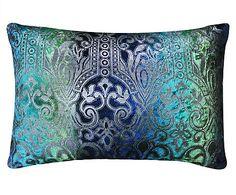 Renueva el dormitorio: Cojín Arabesk, azul y turquesa- 45x65