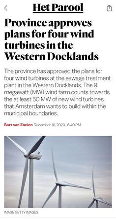 Sewage Treatment, The Province, Wind Turbine, Amsterdam, How To Plan, News