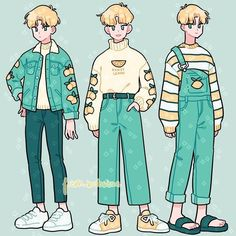 boy in overalls drawing Cartoon Art Styles, Cute Art Styles, Character Outfits, Character Art, Animation Character, Game Character Design, Arte Copic, Japon Illustration, Clothing Sketches