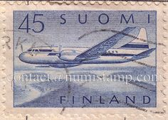 Finland – Suomi  45  1958  Aeroplane – blue – Used Postage Stamp