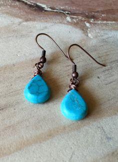 Turquoise tear drop earrings!https://www.etsy.com/listing/270374852/copper-wire-wrapped-turquoise-earrings