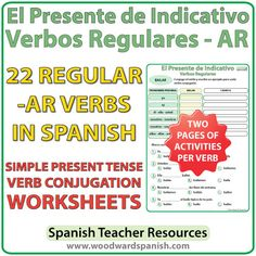 Conjugation worksheets for 22 regular -AR Spanish verbs in the simple present…